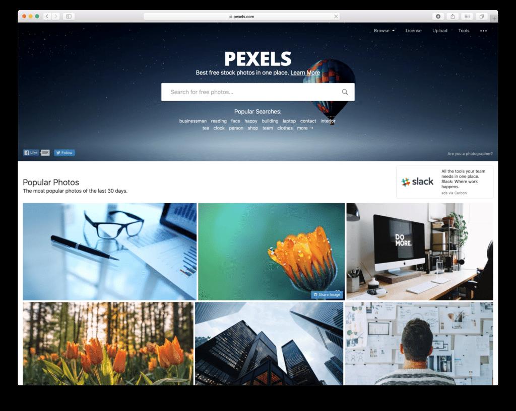 Pexels Screenshot